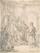 An Audience (recto); Sketch of a nude woman (verso)