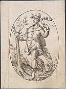 The Month of April: Man Grafting a Branch onto a Tree