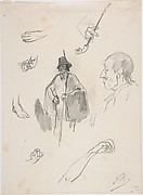 Sheet with figures, details of hands and feet