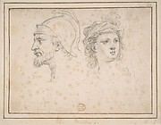 Head of a Bearded Soldier in Profile, Head of a Young Woman in Three-Quarter View
