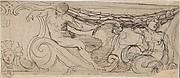 Design for a Frieze: A Nude Man, Sea Creature, a Garland and Volutes, Small head of Unicorn