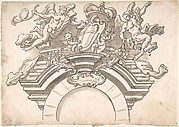 Putti Supporting Coat of Arms above Archway