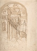 Figures Gathered Before a Group of Buildings, One with a Colonnade (recto); Corner View of a Building all'antica (verso)