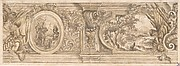 Architectural Design with a Decorated Frieze Containing a History Scene and Landscape