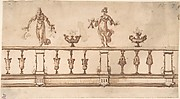 Designe for a Balustrade with Female Figures and Urns