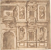 Design for a Facade with Statues in Niches and Armorial Trophies