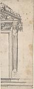 Design for the Right Side of a Door with Pediment and Fluted Pilasters