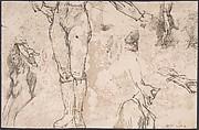 Studies of Female Nude, Hands, and Male Torso (recto); Landscape (verso)