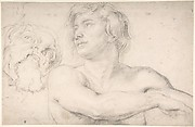 Half-Figure of a Nude Man Facing Left, Head of a Satyr