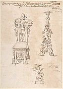 Design for a Chair, Candlestick and Putto Holding Basin