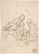 Holy Family with St. John the Baptist (recto); Study of a Foot (verso)