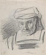 Head of a figure wearing a turban