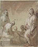 Group of Four Standing and Seated Figures and a Child