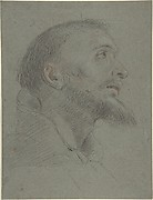 Bust-Length Study for the Head of Saint Francis in Near Profile Facing Right.