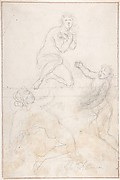 Kneeling Female Nude and Two Studies of Angels