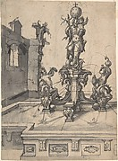 Design for an Elaborate Fountain Surmounted by a Statue of St. Christopher; verso: Studies of Architectural Details