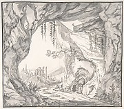 Mountainous Landscape with Ruins of a Castle and Three Men in a Cave, Seen through a Stone Gate
