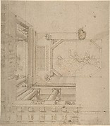 Architectural Elevation, Part of a Ceiling and Balustrade