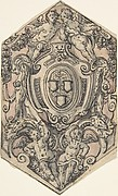 Design for a Coat of Arms with Putti holding Garlands