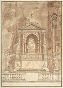 Design for an Altar: Virgin and Child Flanked by Saints, Two Angels in the Left and Right Foreground