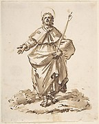 Sketch of a Standing Male Saint