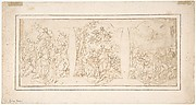 Drawing for Ceiling Decoration Consisting of Three Panels Each Showing a Different Scene with Figures
