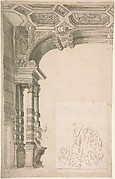 One Half of a Design for an Arch, With a Figural Sketch Pasted at lower right