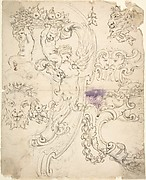 Various Sketches for Cartouches, with Satyr Heads, Putti, etc.
