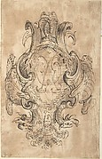 Design for a Coat of Arms with Two Dragons and Initials [?] in center (recto); Three Constructed Circles with Inscriptions (verso)