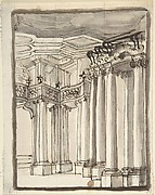 Partial View of an Architectural Interior (recto); Undecipherable Sketches (verso)