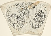 Design for a Cup (?) with Bacchus and Two Figures Warming Themselves (January)