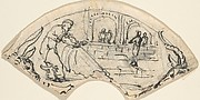 Design for a Cup(?) with a Man Putting up a Net