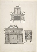 Designs for furniture in a variation on the style of Thomas Sheraton, a breakfront, a sideboard, and a low cupboard