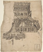 Half design for a palace - fortress with a statue in front