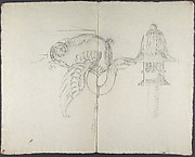 Design for a chandelier: detail of a swan holding a candlestick