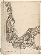 "Design for a corner of a Painted Ceiling, Architectural ""Cove"" with a Seated Figure at the Bottom, and a Putto at the Side"