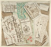 Trompe l'Oeil Design Including Bills, Calling Cards, an Etching, a Map etc.