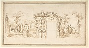 Design for a Painted Wall Decoration, with Figures in a Landscape with Classical Ruins