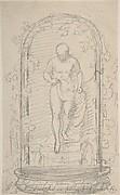 Recto:Nude Female Figure in a Niche   Verso: Study for a Fountain