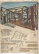 "Theatrical design for Inn Interior for G.B. Shaw's ""Millionairess,"" Prague 1936"