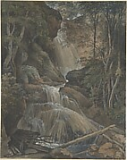 A Waterfall in a Forest at Langhennersdorf