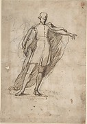 Sketch of a Standing Male Figure Wearing a Cape