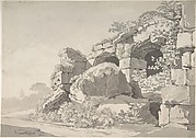 Partial View of the Colosseum; verso: Sketch of the Temple of Minerva Medicea