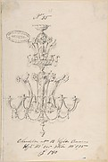 One of Twenty-Three Sheets of Drawings of Glassware (Mirrors, Chandeliers, Goblets, etc.)