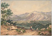 View of Lebanon, after an English Engraving and an Italianate motif of the Sabiner Mountains