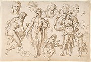 Recto: figure and head-studies (including Bacchus); Verso: four main figure studies repeated from the recto