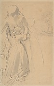 Sheet of Studies with Female Figure Kneeling and Embracing Standing Figure