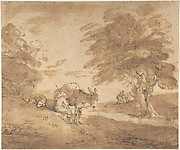 A Rest by the Way (Open Landscape with Figures, Donkey and Horses)