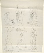 "Sketches of Six Statues: ""Magdalene by Canova,"" ""Divine Love,"" ""Angelo Pregniera,"" ""Boxer by Canova,"" ""Confidence in God by Bartolini,"" and ""Madonna by Raphael"""