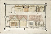 Bungalow drawing -- Western elevation and interior